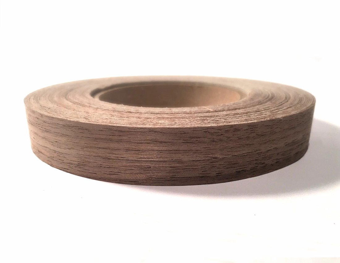 Walnut 2 X 25' Roll Preglued Wood Veneer Edge Banding Flexible Wood Tape Easy Application Iron On with Hot Melt Adhesive. Smooth Sanded Finish Veneer Edging. Made in USA.