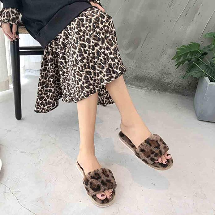Damen Leopardenmuster Hausschuhe Flache Unterseite Weich Home Schuhe Innen