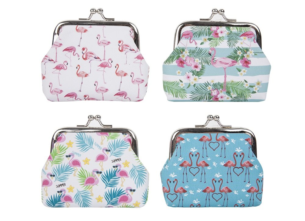 1 x Girls Flamingo Twist Clip Purse Clip Coin Purse Assorted