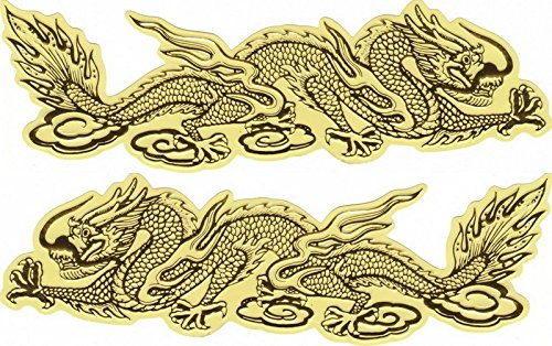 5 pairs Golden Chinese Dragon Sticker Car Racing Motorcross Decal Motorcycle Truck Graphic Logo Bicycle Bike Stickers