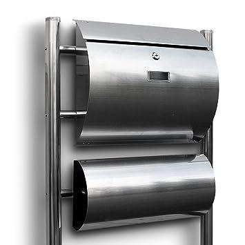 Standbriefkasten Briefkasten Briefkastenanlage seperates Zeitungsfach Dunkelgrau