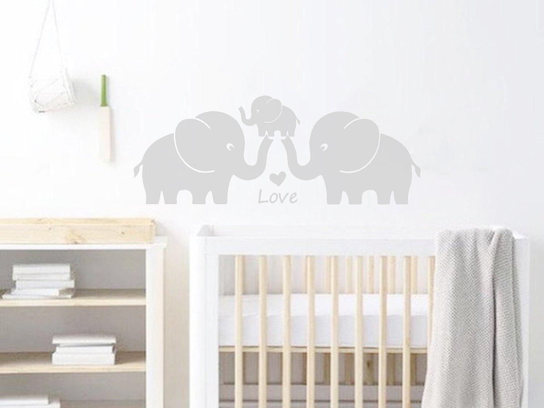 Simpatico elefante famiglia con cuori adesivi da parete per cameretta bambini stanza adesivi da parete 30/w x11.8 H grigio