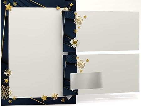 Paper-Media Elegance - Papel para cartas (con sobre de ventana, 50 hojas y 50 sobres), diseño navideño: Amazon.es: Oficina y papelería