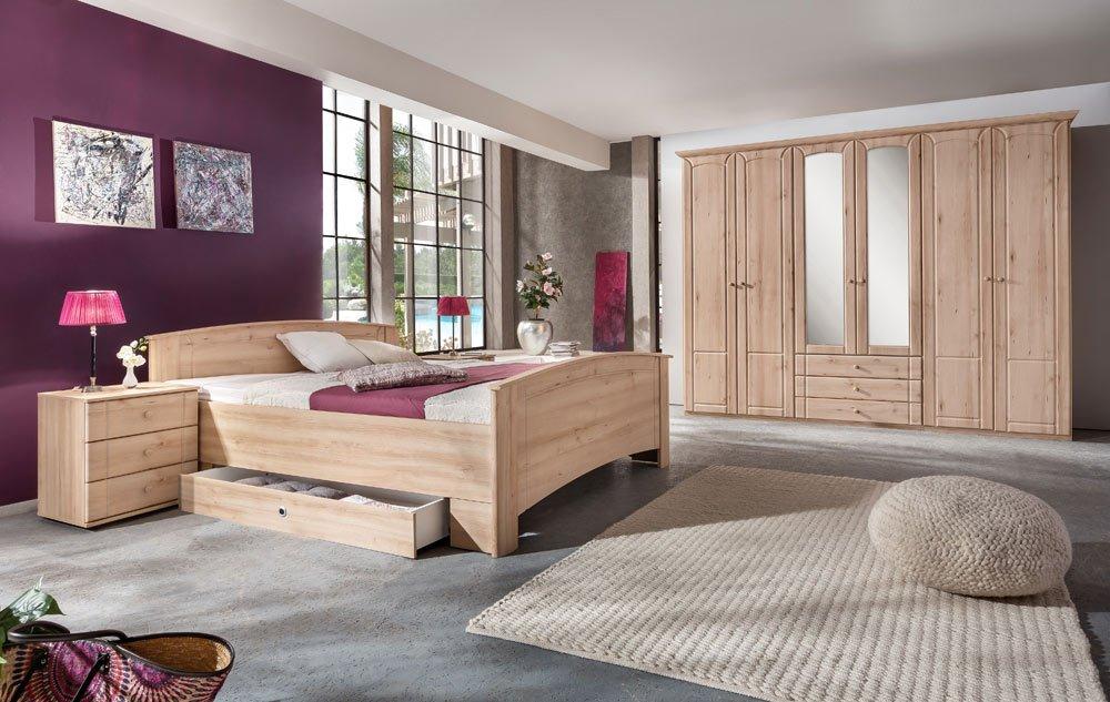 Schlafzimmer 3-tlg. in Edelbuche-Nachbildung, 6-trg. Kleiderschrank B: 270 cm, Kompaktbett 180 x 200 cm, 2 x Nachtschrank B: 52 cm