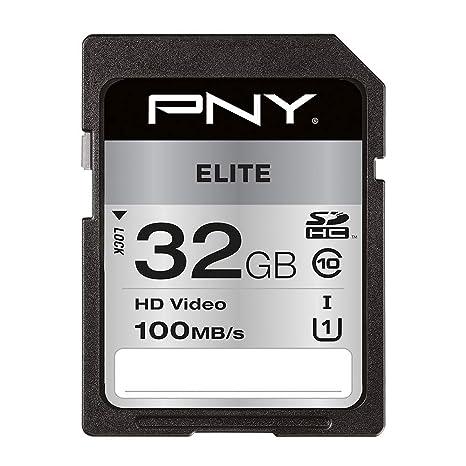 PNY Elite Memoria Flash 32 GB SDHC Clase 10 UHS-I - Tarjeta de Memoria (32 GB, SDHC, Clase 10, UHS-I, Class 1 (U1), Negro)