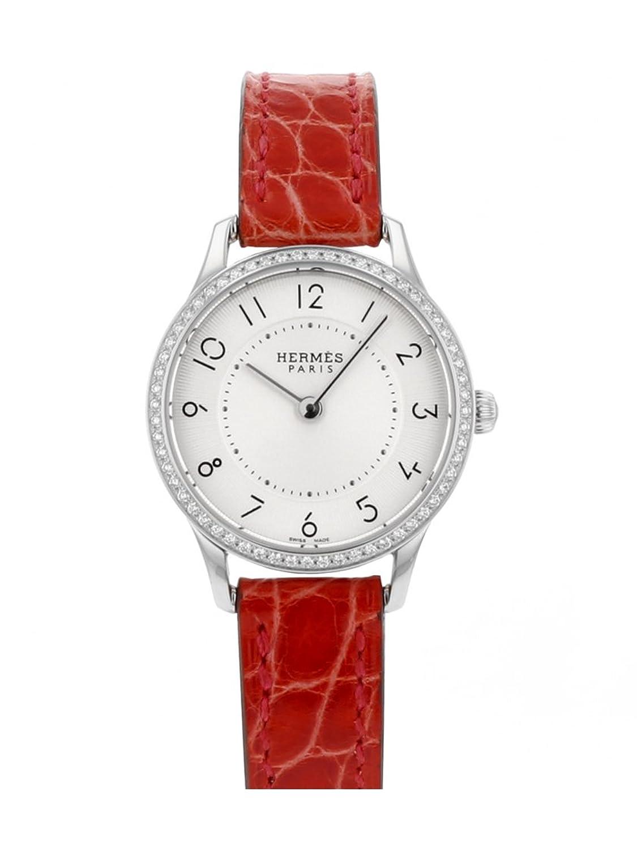 [エルメス] HERMES 腕時計 CA2.130 スリム ドゥ エルメス SS/レッドレザー シルバーダイアル ベゼルダイヤ [中古品] [並行輸入品] B0779W8PCT