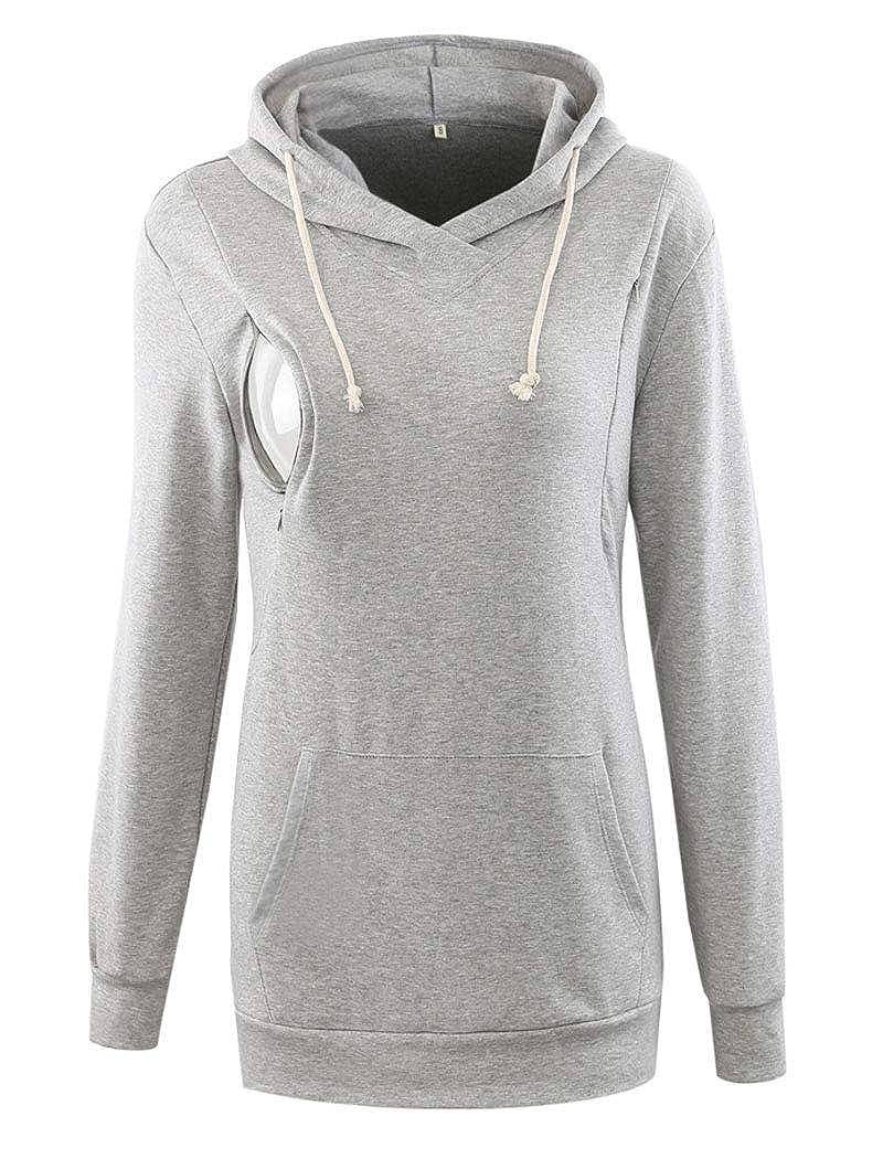 c1a73f830cd5c Ecavus Womens Fleece Maternity & Nursing Sweatshirt Hoodie Zip up ...