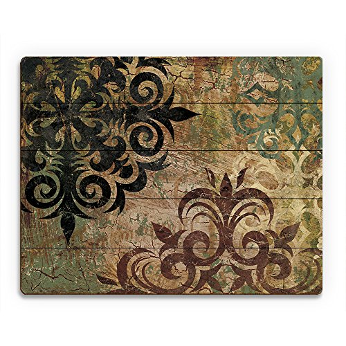 Industrial Snowflake - Tan: Distressed Antique Vintage Fancy Rococo Abstract Swirls in Black