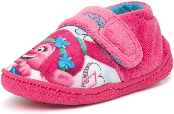 Shoe Zone Trolls Kids Pink Easy Fasten