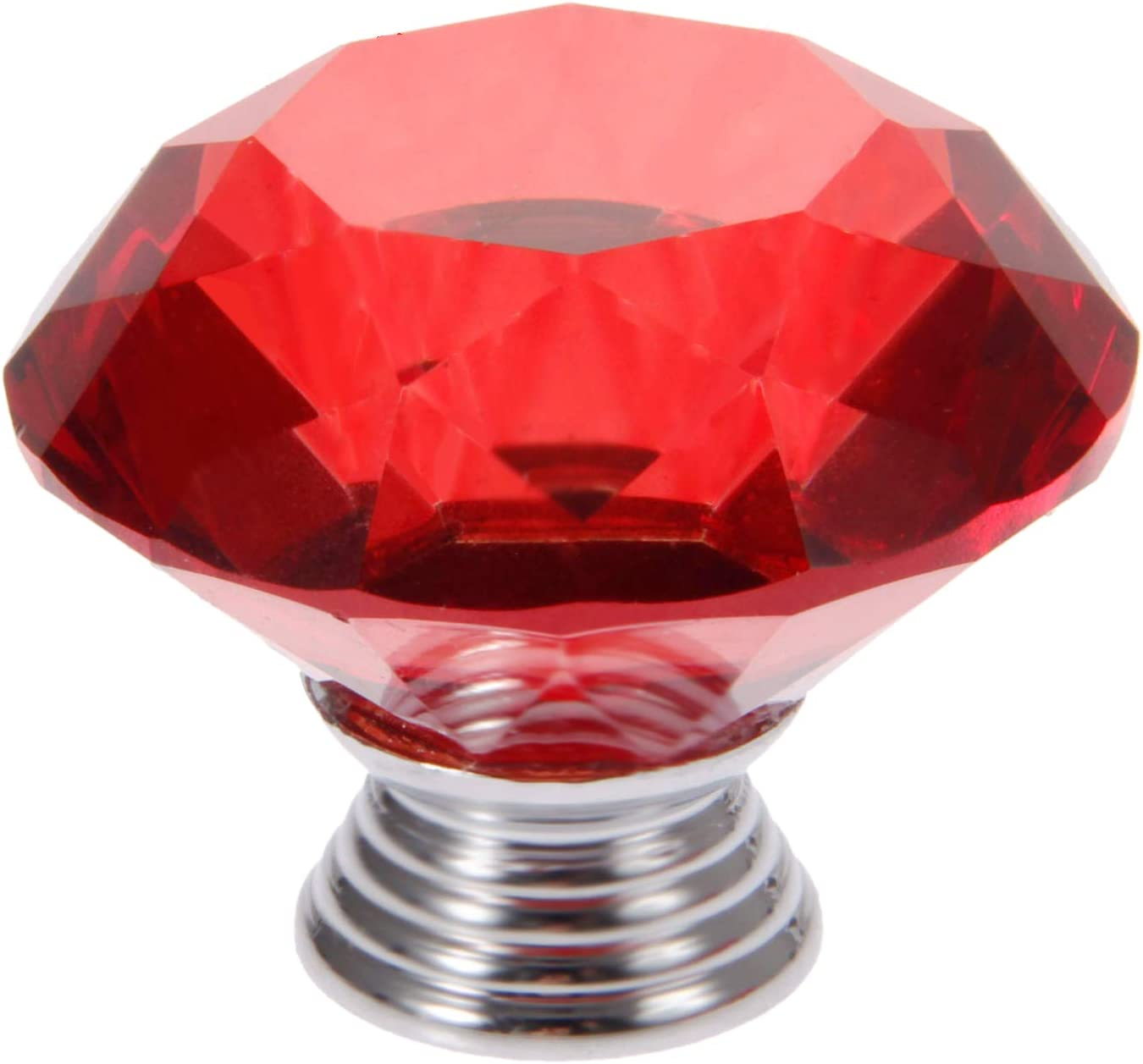12pcs 40mm Diamond Crystal Glass Knob for Closet Cabinet Drawer Kitchen Dresser Cupboard Wardrobe,3 Size Screws,Black Mtsooning