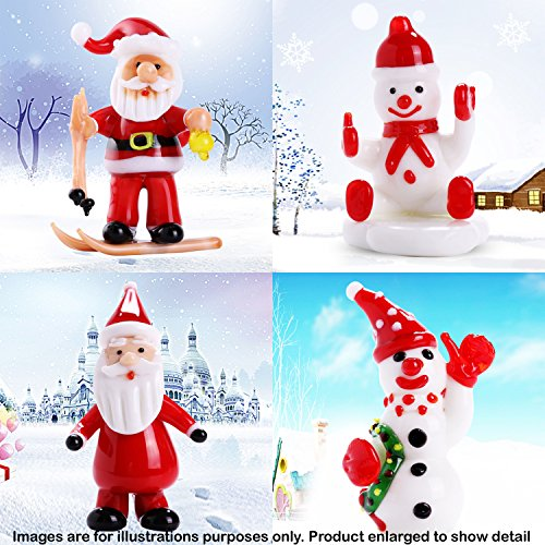 Matashi Set of (4) 2'' Collectible Hand-blown Murano Glass Christmas Winter Decorative Glass Ornament Standing Figurines Set by, Christmas Decoration Table Decor Holiday Gift Stocking Filler (Ornament Snowman Smiling)