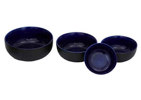 Stonish ceramic/handmade serving bowl  set of 4 in black and blue colour Cereal Bowls