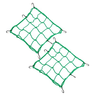 "Sdootauto 12"" x 12"" Heavy Duty Cargo Net Motorcycles, 2Pcs, Stretches to 35"" 6 Adjustable Iron Hooks - Green: Automotive"