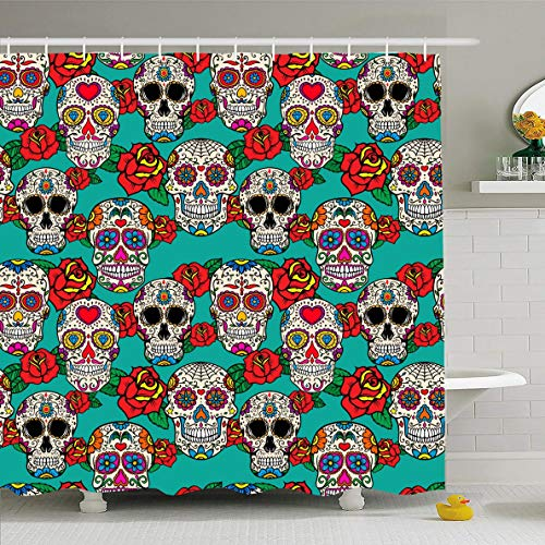 Ahawoso Shower Curtain 72x78 Inches Art Day Sugar Skulls Roses Dia Holidays Dead Pattern Calavera Celebration Costume Design Floral Waterproof Polyester Fabric Bathroom Curtains Set with Hooks]()