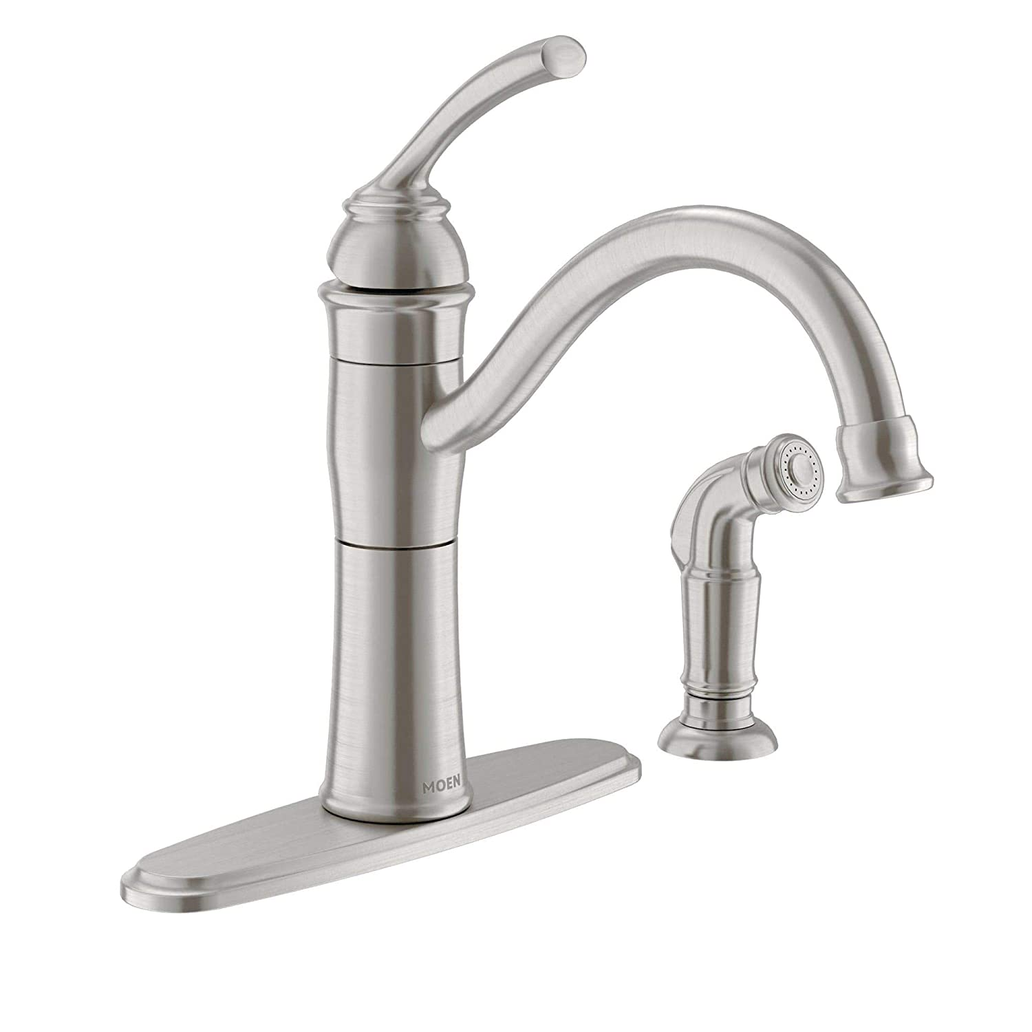 Moen 87230SRS High-Arc Kitchen Faucet with Side Spray from the Braemore Collection, Spot Resist Stainless