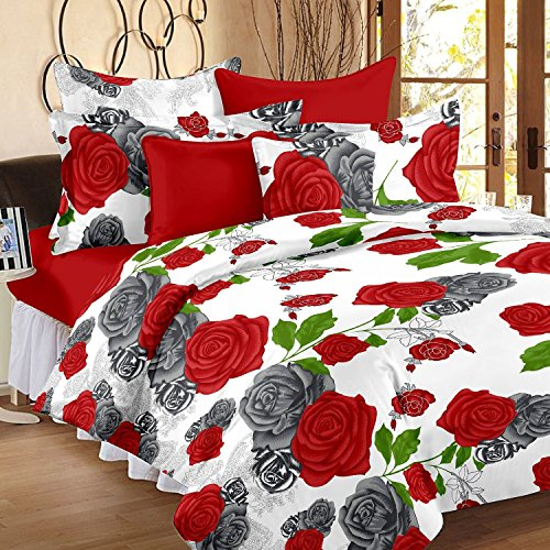 Story@Home 100% Cotton Red Rose Print Trendy Premium Elegant Double Bedsheets