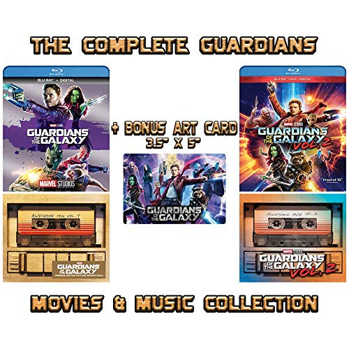 Guardians of the Galaxy: The Complete Movies & Music Collection - Blu-ray Films 1-2 + Awesome Mix CD Volumes 1-2 + Bonus Art Card
