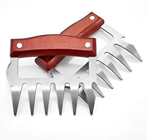 JEANTRIX Meat Claws,Meat Shredder Claws, Stainless Steel BBQ Meat Claws for Shredding Meat with Wood Heat Resistant Handle (Gules)