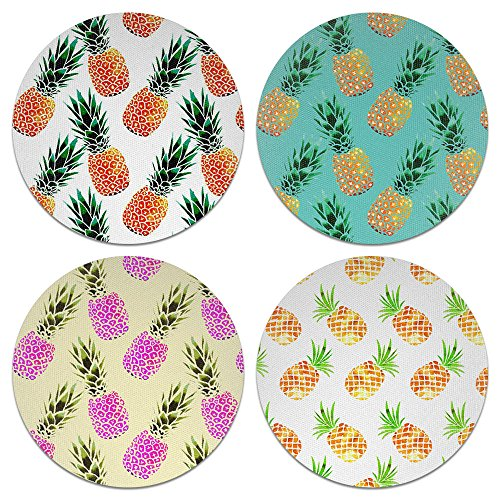 Coasters Pineapple - CARIBOU Coasters Pineapple Design Absorbent Neoprene Coasters for Drinks, 4pcs Set