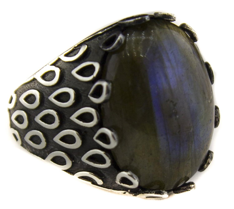 Sterling silver unisex ring handmade, labradorite natural gemstone, Express Shipping