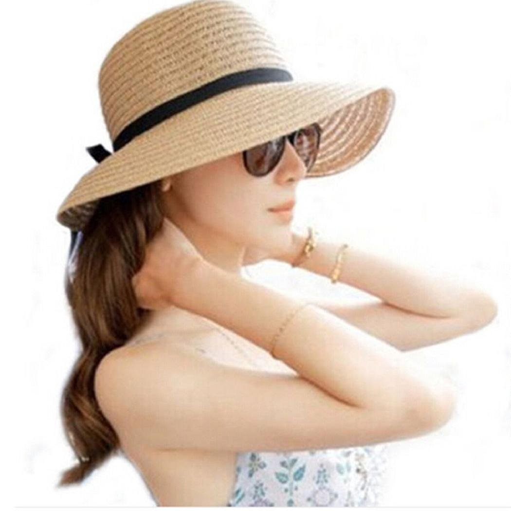 c39c3f9f7689d1 Amazon.com: ShenPourtor Women/Lady Summer Cool Wide Brim Straw Sun Hat  Floppy Foldable WIth Stylish Butterfly Band (Beige): Toys & Games