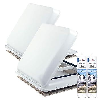 Amazonfr 2 X Fenêtre De Toit Fiamma Vent 40 X 40 Cm Blanc