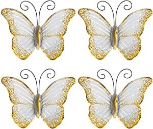 Metal Butterfly Wall Art use as Outdoor Garden Butterfly Wall Art, Set of 4 White Wall Art Outdoor/Indoor Garden Butterflies and Wall Décor Sculptures Wedding Decor (White)