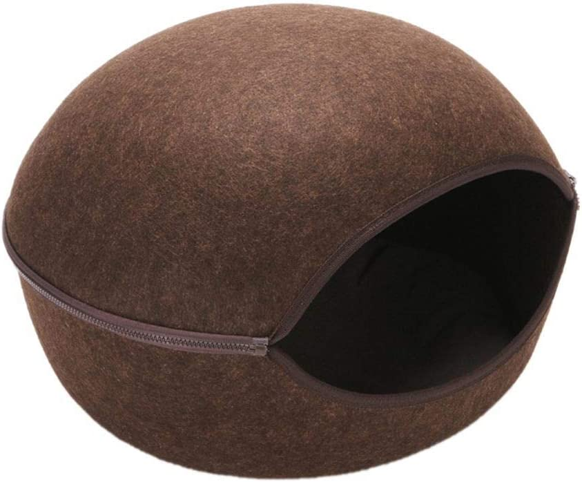 Cat Warm Nest 17.71x17.71x12.59 inches 2-in-1 Cat Kitten Bed with Removable Washable Cushioned Pillow Sleep Zip Up Bag for Kitten Felt Pet Cave Bed for Cats//Small Dogs