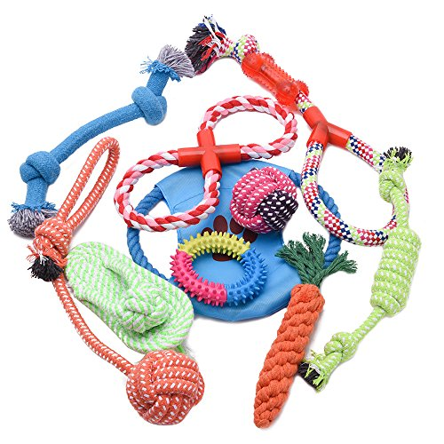 PetInn Dog Rope Toys Set – 10 Pack Chew Toys for Playtime and Teeth Cleaning, 100% Washable Cotton Durable Tough Puppy…