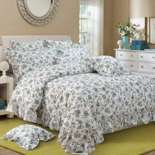 (FADFAY Duvet Cover Set Full Farmhouse Bedding Vintage Shabby Floral Bedding 100% Cotton Super Soft Hypoallergenic Princess Ruffle Designer Bedding with Hidden Zipper Closure 3 Pieces Full Size)