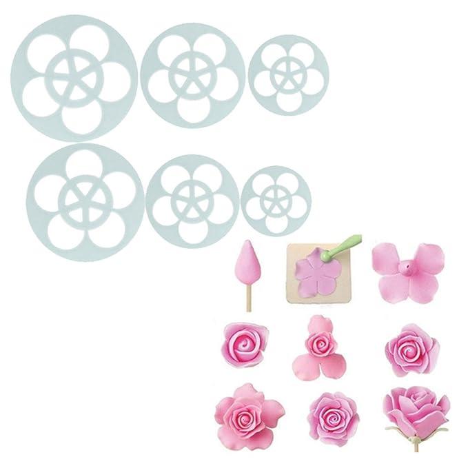 Affe 6pcs Rosa Flores Pastel Pastelería Cortadores de émbolo cortador de galletas Chocolate moldes DIY molde: Amazon.es: Hogar