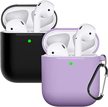Yellow Laffav AirPods Case Silicone Protective Cover Front LED Visible Lilac with Anti-Lost Carabiner for Women Men Compatible with Apple AirPods 2 /& 1 2 Pack