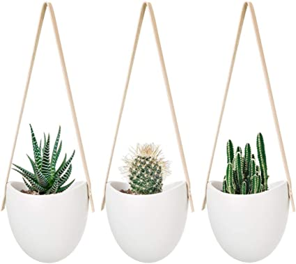 Mkouo Hangeampeln Keramik Blumentopf Hangend Wand Vase Blumenampel Deko Fur Sukkulenten Kaktus Perlweiss 3 Stuck Amazon De Garten