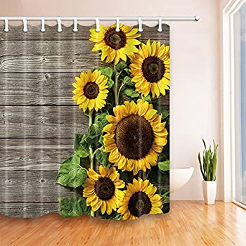 Attractive NYMB Plants Theme Sunflower On The Wooden Shower Curtain In Bath 69X70  Inches Mildew Resistant Polyester Design Ideas