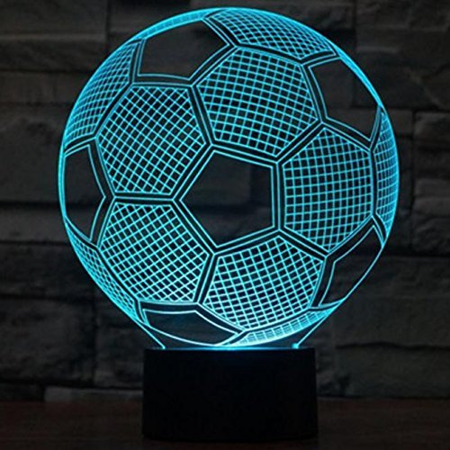Boweike European Championship Football Soccer 3D Visualization Glow LED Lamp Optical Illusion Night Light Home Decor by Boweike