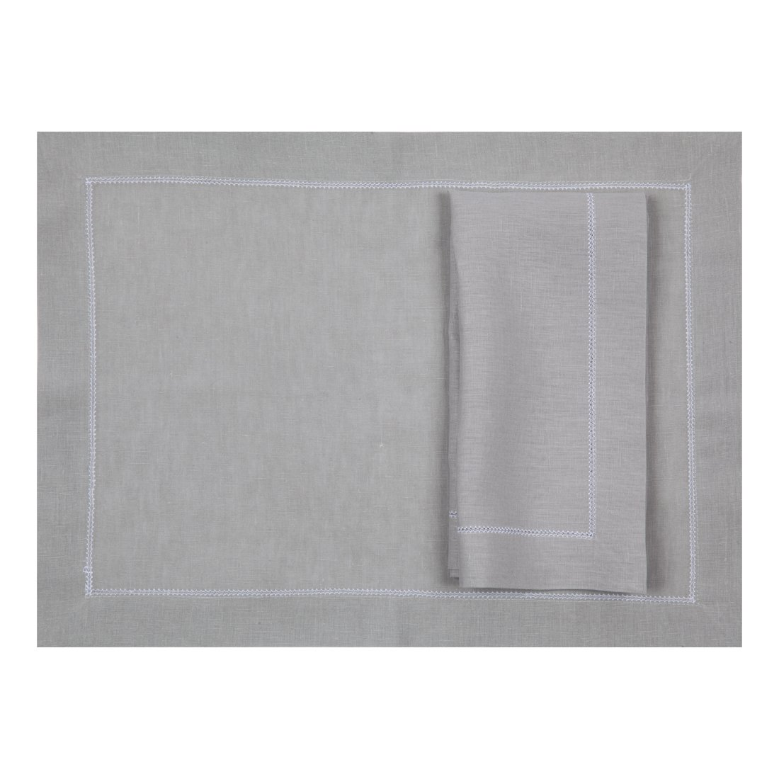 Silver Grey Linen Placemat With Contrast White Hemstitch (Set of Six)