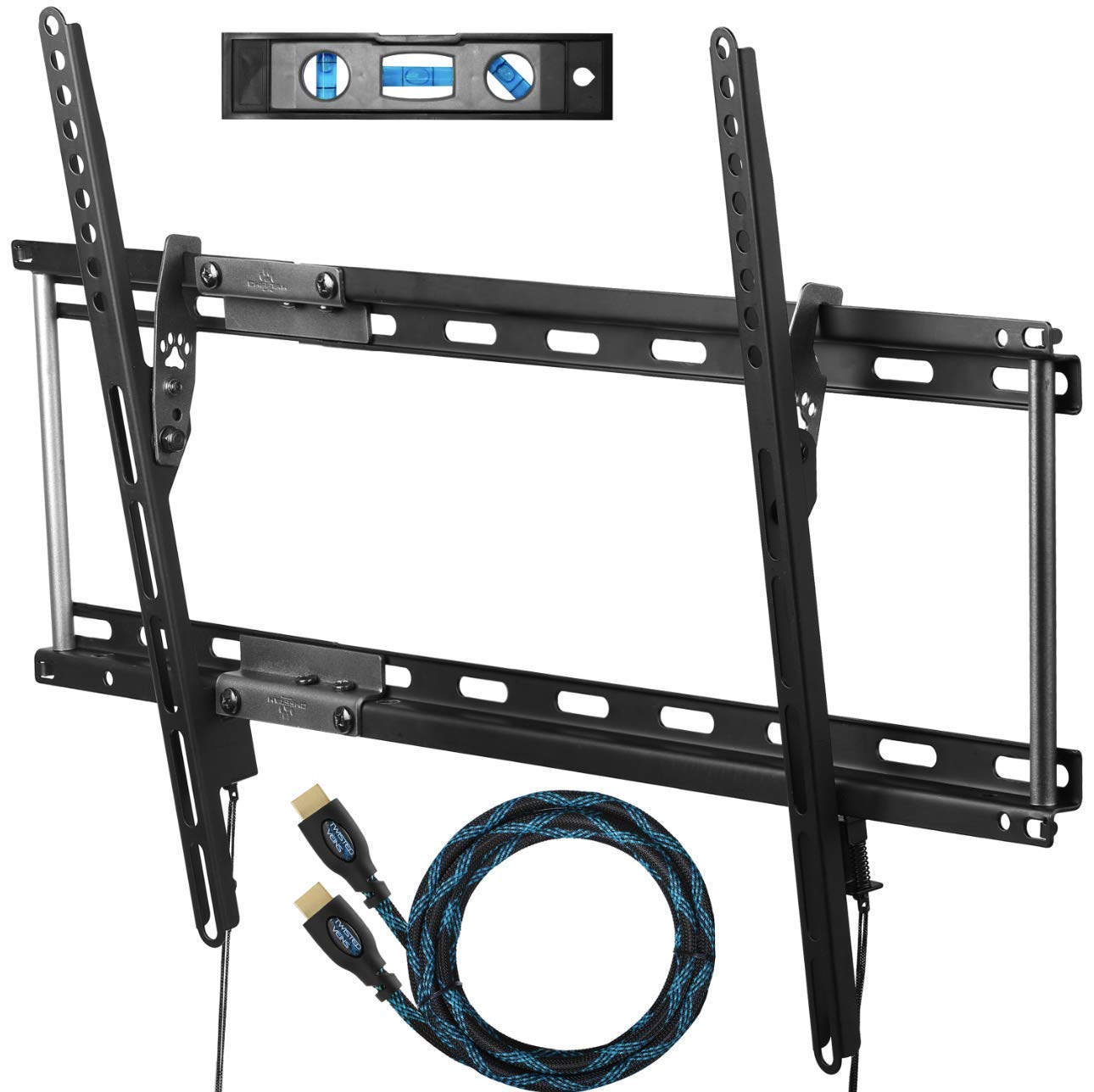 "Cheetah Mounts APTMM2B TV Wall Mount Bracket for 20-75"" TVs up to VESA 600 and 165lbs, Fits 16"" And 24"" Wall Studs, and includes a 10' Twisted Veins HDMI Cable and a 6"" 3-Axis Magnetic Bubble Level"