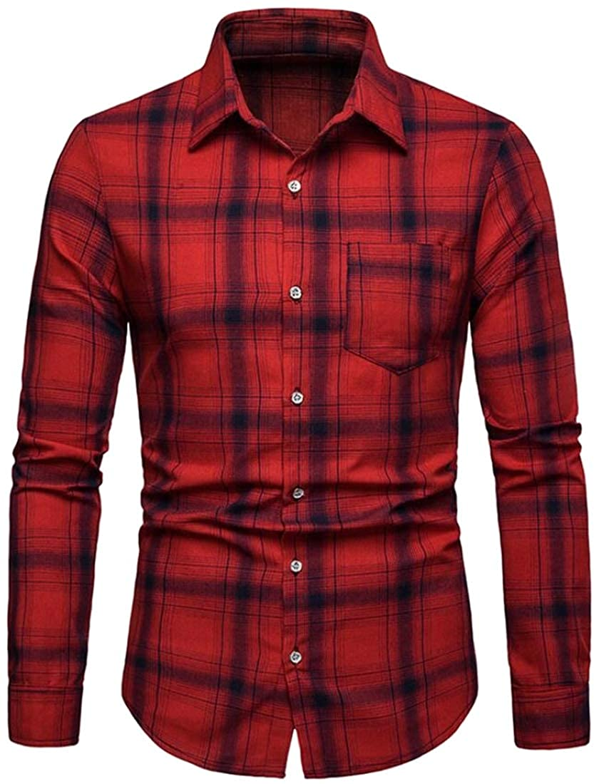 Domple Mens Business Fashion Plaid Turn Down Collar Long Sleeve Button Down Shirts Tops