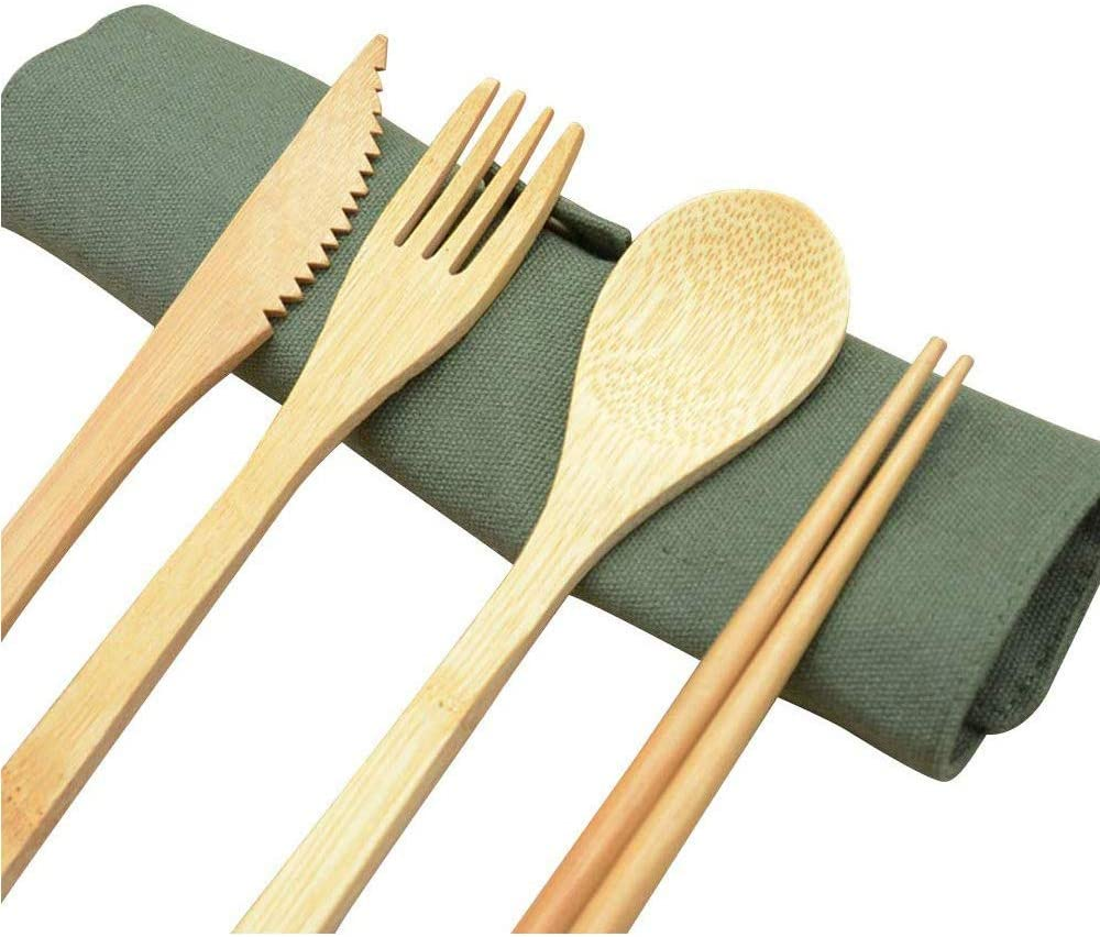 Green Reusable Bamboo Cutlery Set,Eco Friendly Wooden Utensil Kit,Camping Flatware Set for Replaceing Plastic Cutlery Set