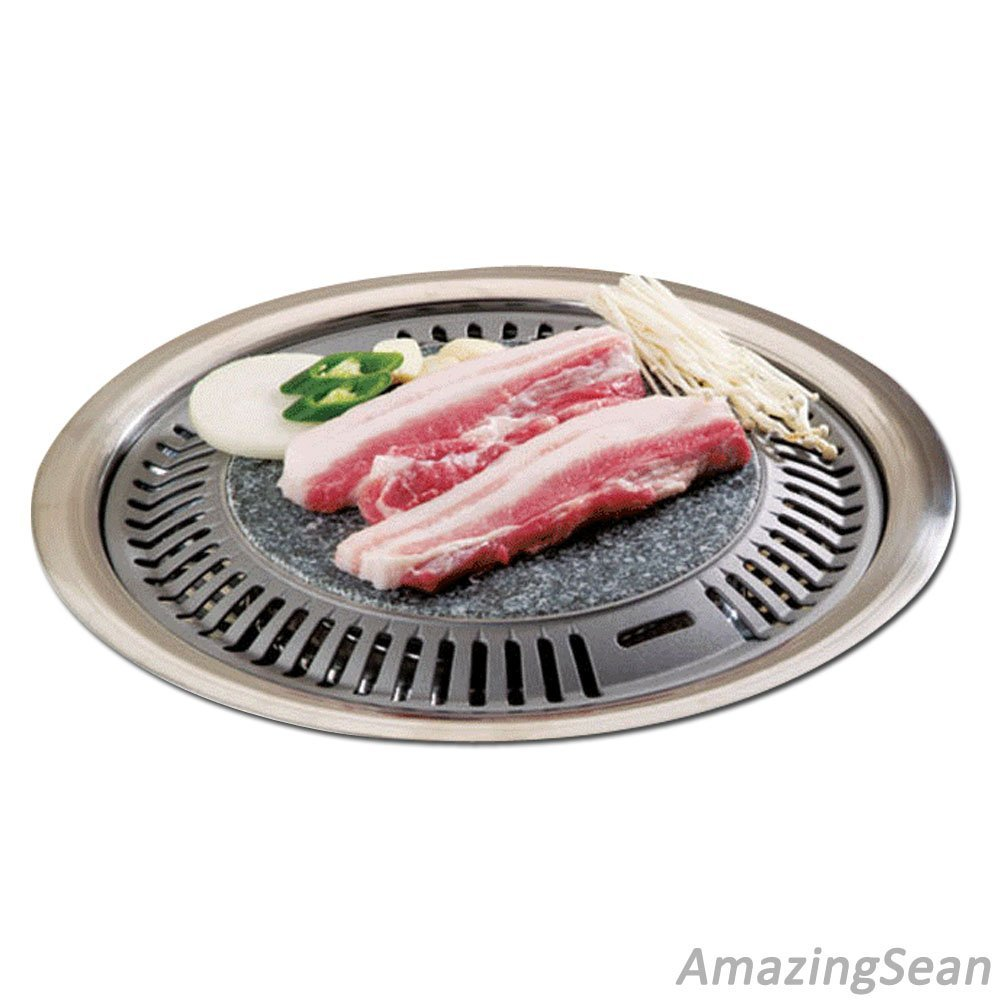 Korean BBQ Stone Grill BBQ Pan, Stone Plate Stovetop Barbecue Native Rock Steak Chicken Ribs Pork Belly Grill Pan by Dongwoo