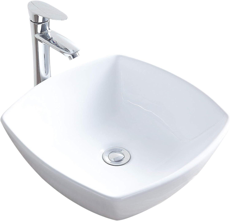 Mecor 17 X 17 Square Bathroom Ceramic Vessel Vanity Sink Bowl White Porcelain Basin Counter Top Pop Up Drain Amazon Com