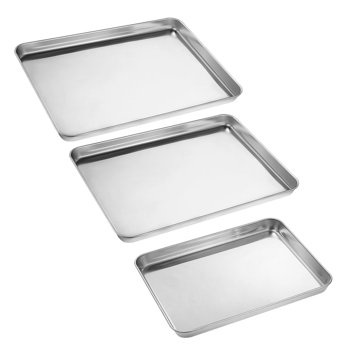 Baking Sheets Set of 3, HKJ Chef Baking Pans 3 Pieces & Stainless Steel Cookie Sheets & Toaster Oven Tray Pans, Non Toxic & Healthy, Mirror & Easy Clean by HKJ Chef (Image #2)