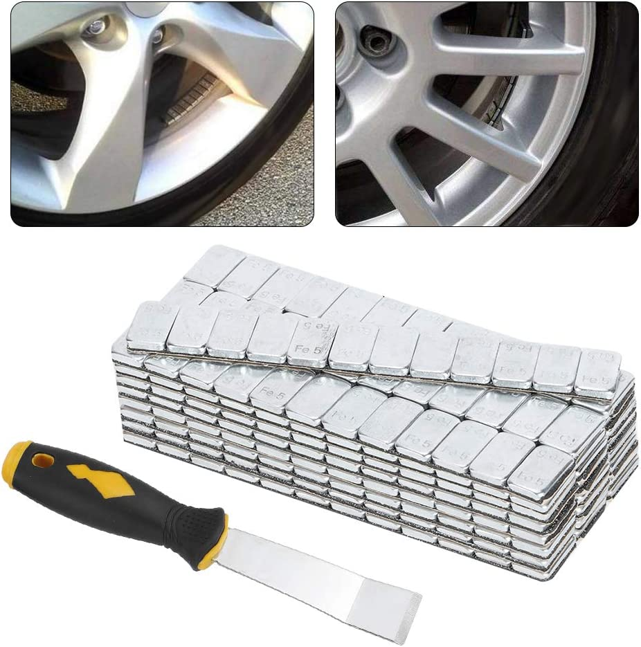 Qiilu Adhesivo para equilibrar el peso de las ruedas 25pcs+shovel 5 g//0.18 oz x 25 Tiras de 60 g//2.12 oz Adhesivo Bloques de equilibrio del cubo de la rueda Equilibrador de equilibrio de peso de