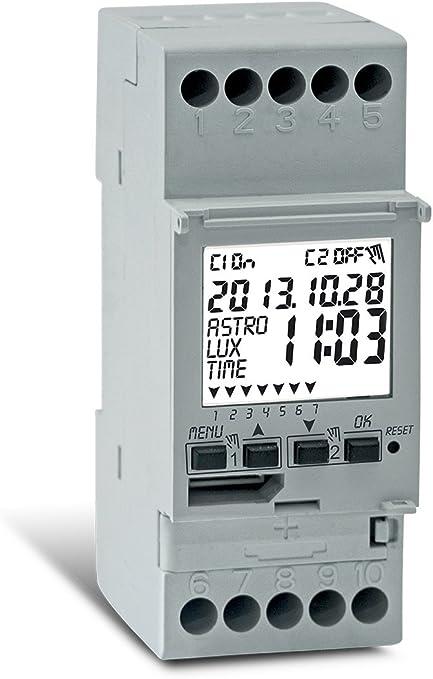 Perry Interrupteur horaire digital astronomique crépusculaire 2 canaux 2 DIN