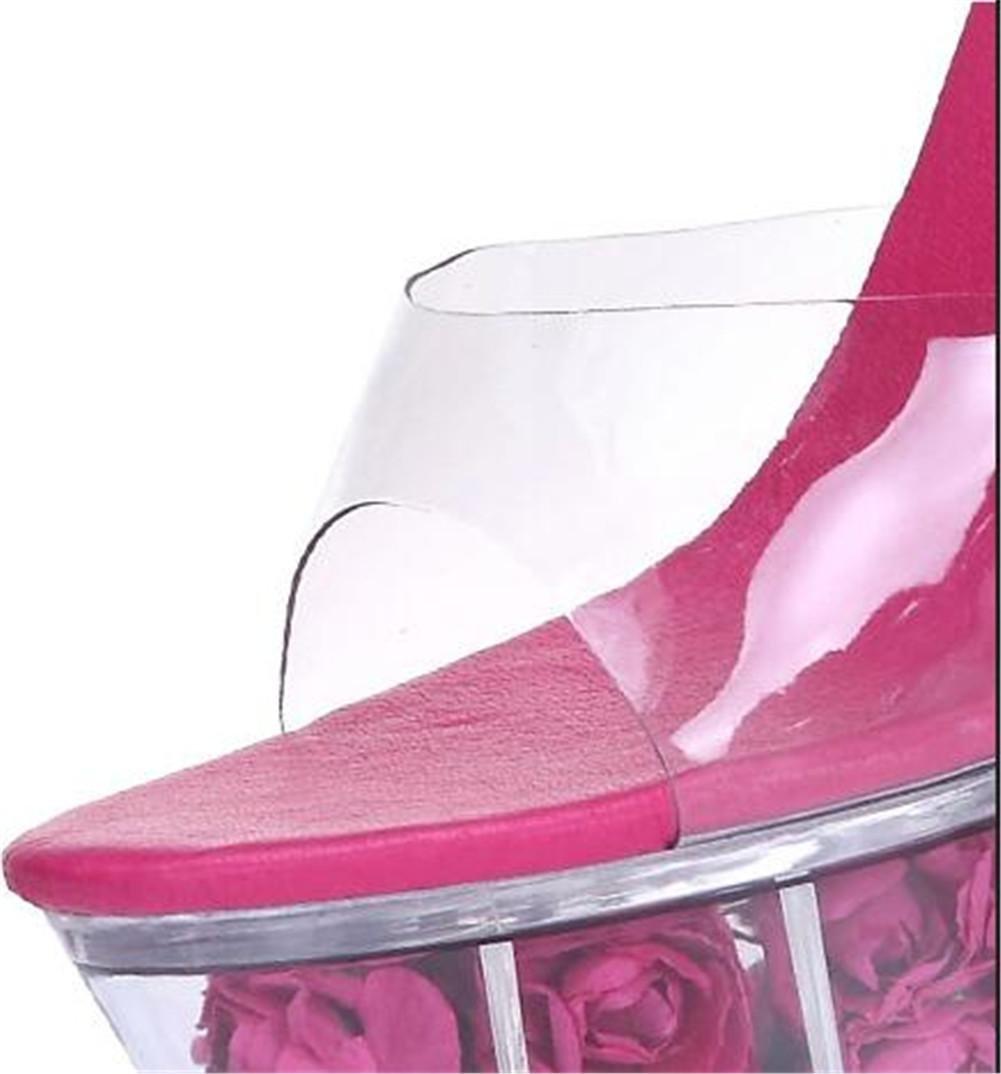 Frau Schuhe Blume Plattform Aufhellen Transluzent  Kristall Stiletto-Absatz Sandalen Party Verein Hochzeit Sandalen Stiletto-Absatz Größe 35 bis 41  dark pink abd8b8
