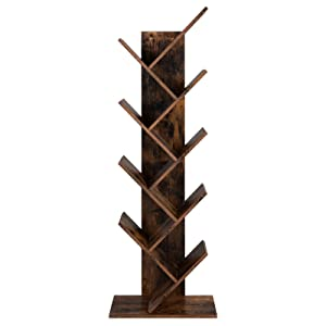 VASAGLE Tree Bookshelf, 8-Tier Floor Standing Bookcase, with Wooden Shelves for Living Room, Home Office, Rustic Brown ULBC11BX