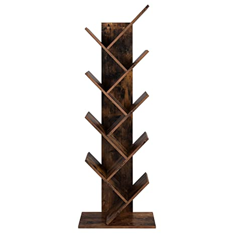 the best attitude 69457 33c40 VASAGLE Tree Bookshelf, 8-Tier Floor Standing Bookcase, with Wooden Shelves  for Living Room, Home Office, Rustic Brown LBC11BX