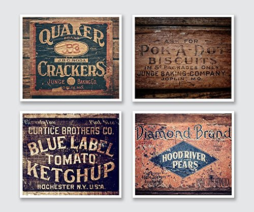 Rustic Country Kitchen Set of 4 Unframed 5x7 Prints. Vintage Food Crate Photographs for Dining Room or Restaurant Decor.