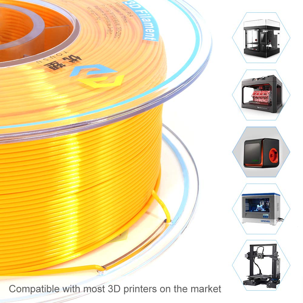 Tangle Free, Pearlescent PLA 3D Filament with Gorgeous Surface by Yousu, Gold, 1.75mm 1kg, Strong bonding and Overhang Performance. Compatible with Most of 3D Printer.