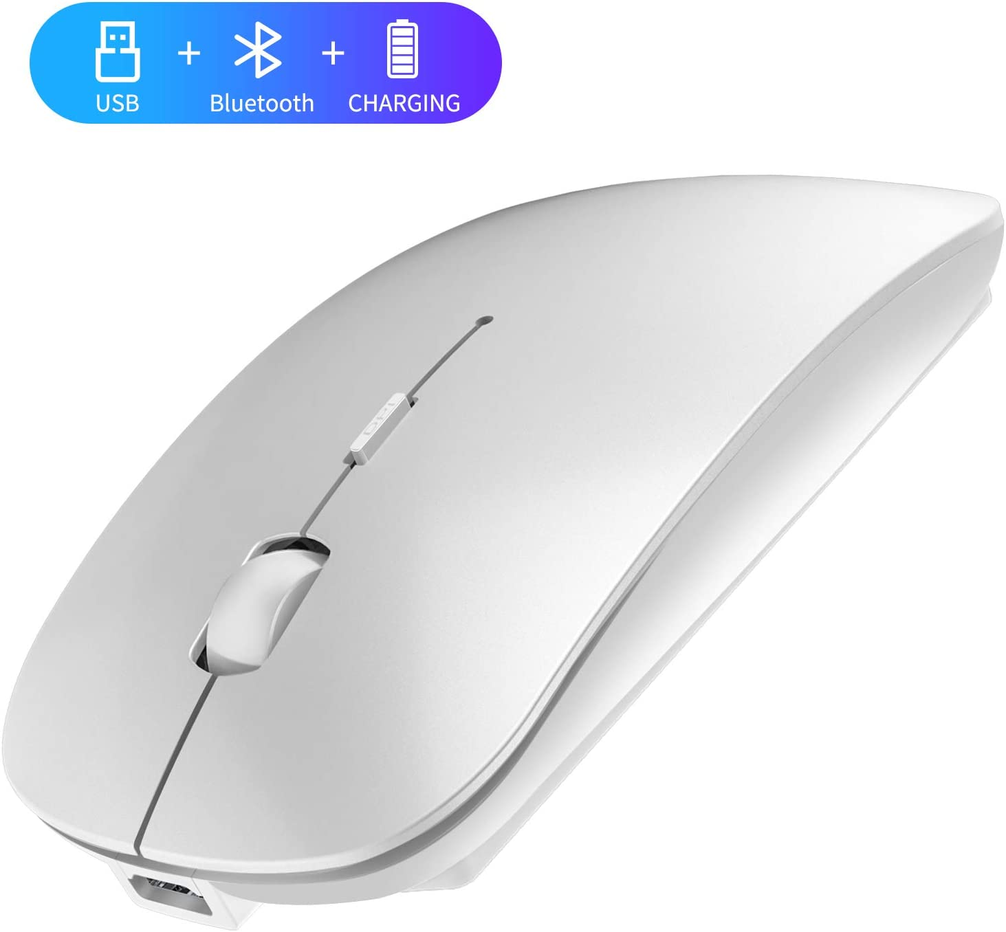 2.4GHz Wireless Bluetooth Mouse, 3 Adjustable DPI, Dual Mode Slim Rechargeable Wireless Mouse Silent USB Mice,Compatible for Laptop Windows Mac Android MAC PC Computer (Silver)